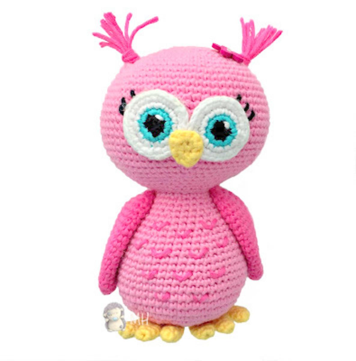 Free Crochet Pattern: Pink Owl Amigurumi Doll