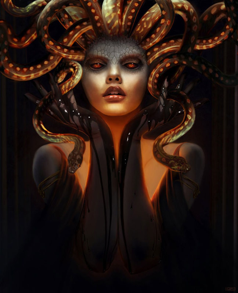 Medusa took the form we know her as when she was punished for disobeying. Medusa could then turn anyone who looked at her to stone.It foreshadows the shock Jane's husband later experiences when he sees Jane.