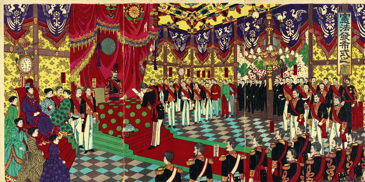 The Meiji constitution is presented, quite literally as a gift from the emperor.