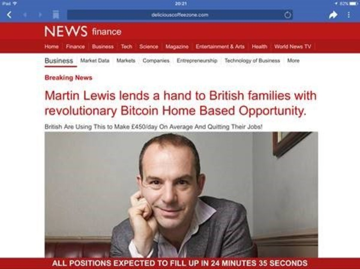 Example of ad falsely using Martin Lewis's image and name to advertise cryptocurrency scam