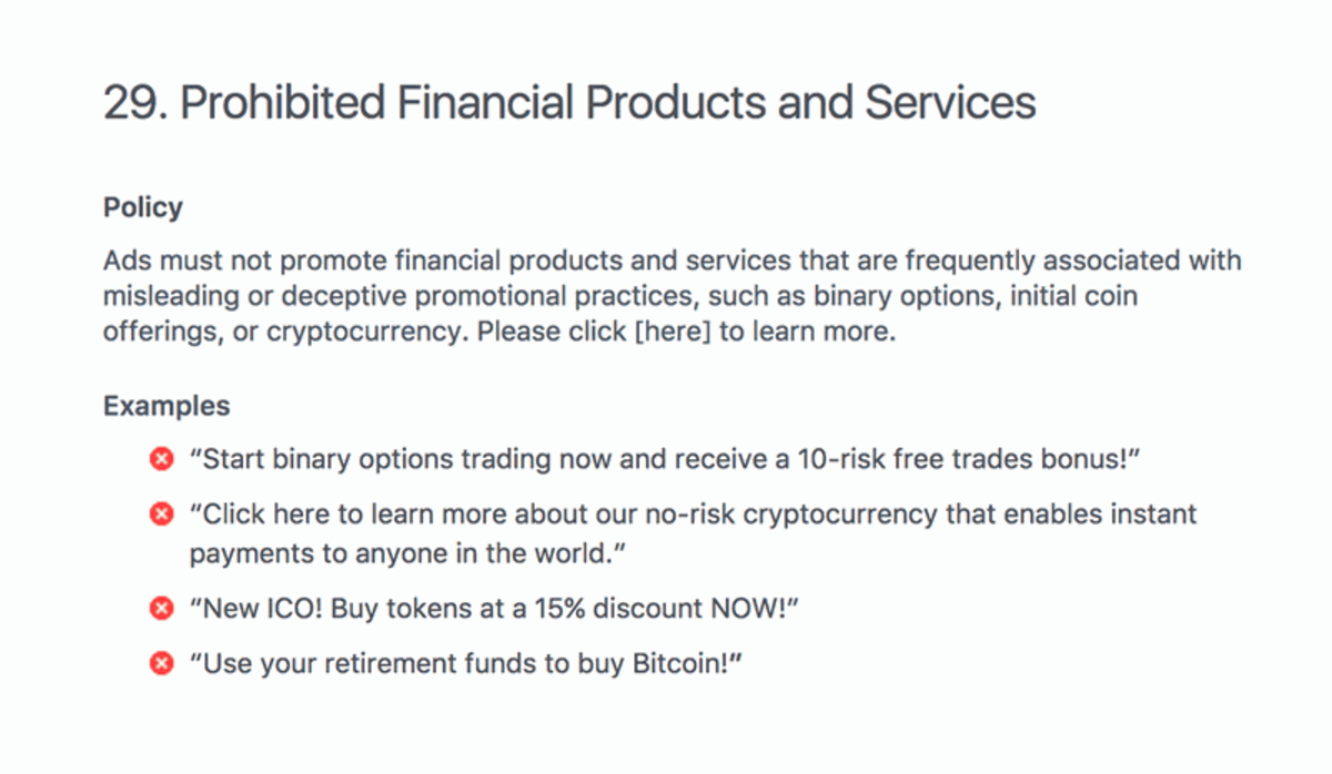 Facebook's policy statement on cryptocurrency with examples.