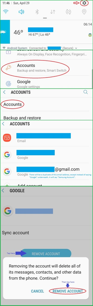"""Settings>Accounts>Accounts, select the """"Samsung Account"""" email address and """"Remove Account."""""""
