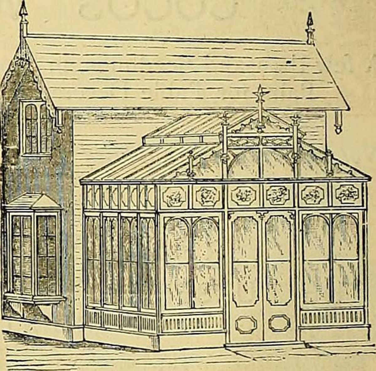 One of many older ornate lean to greenhouses of the 18th century.