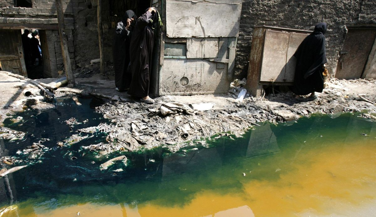 Wastewater from a leather tannery in Cairo