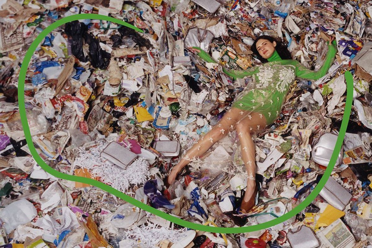 An image from Stella McCartney's Fall 2018 campaign, which was meant to highlight waste in the context of the fashion industry. This was shot in a landfill.  Photo: Harley Weir for Stella McCartney
