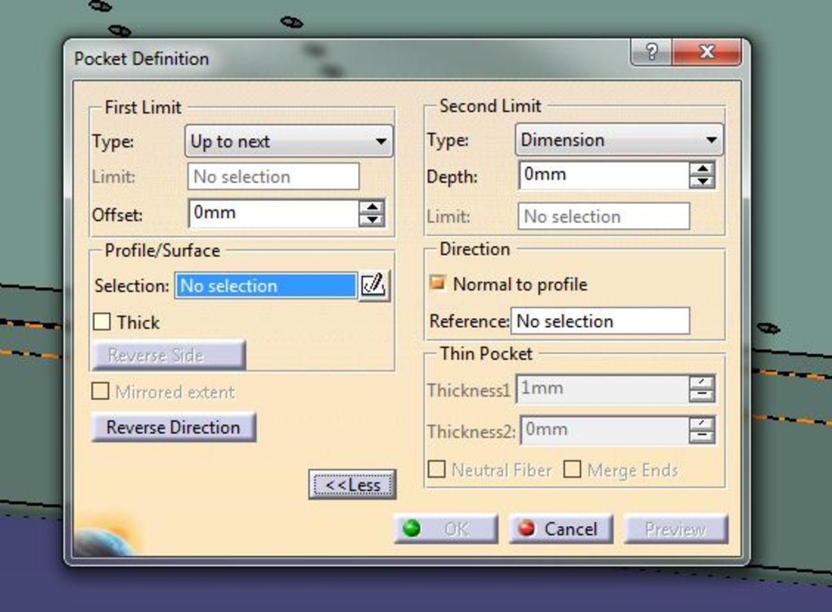 The Pocket Command Dialog box for Catia V5