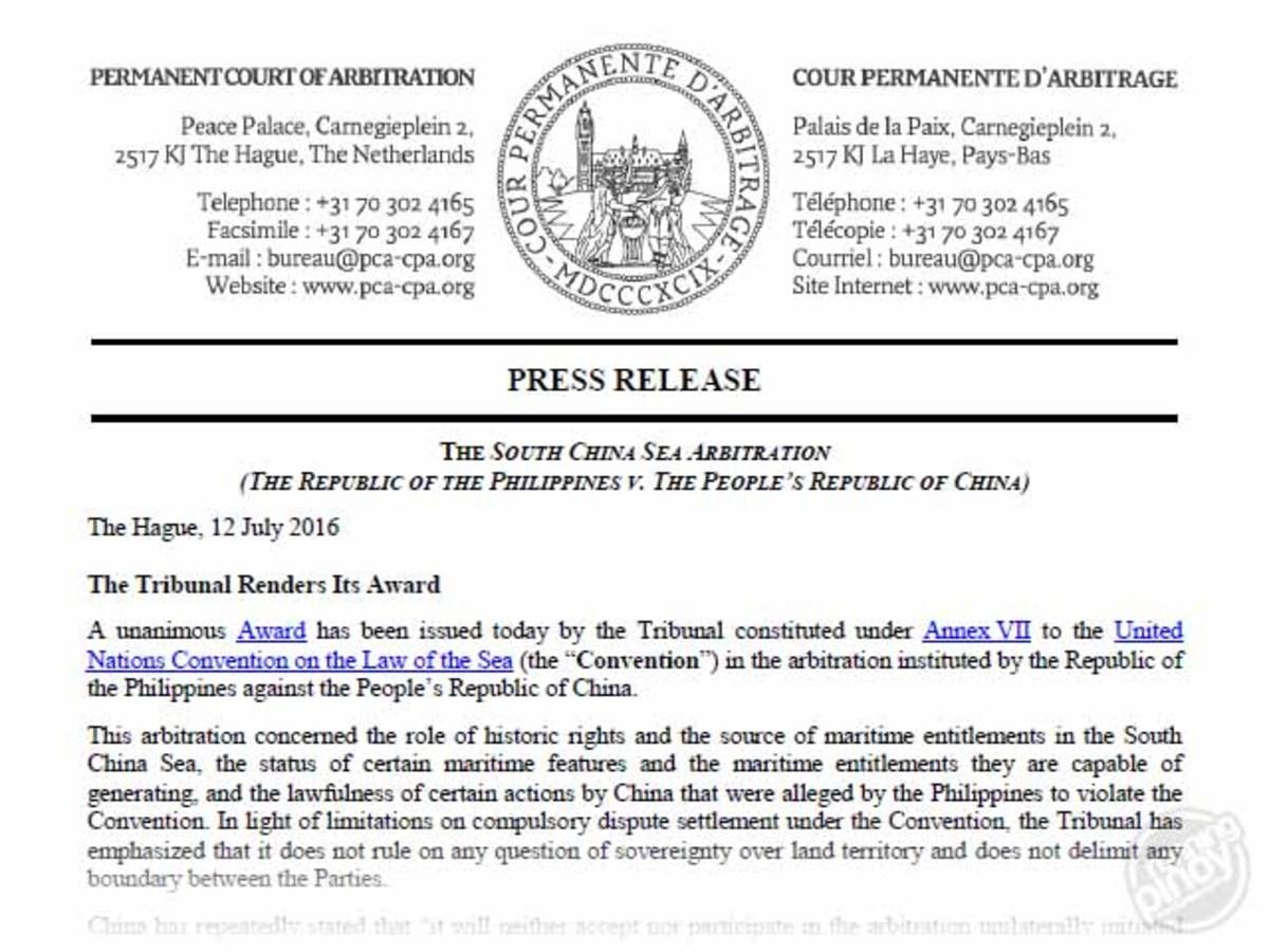 The South China Sea Arbitral Award