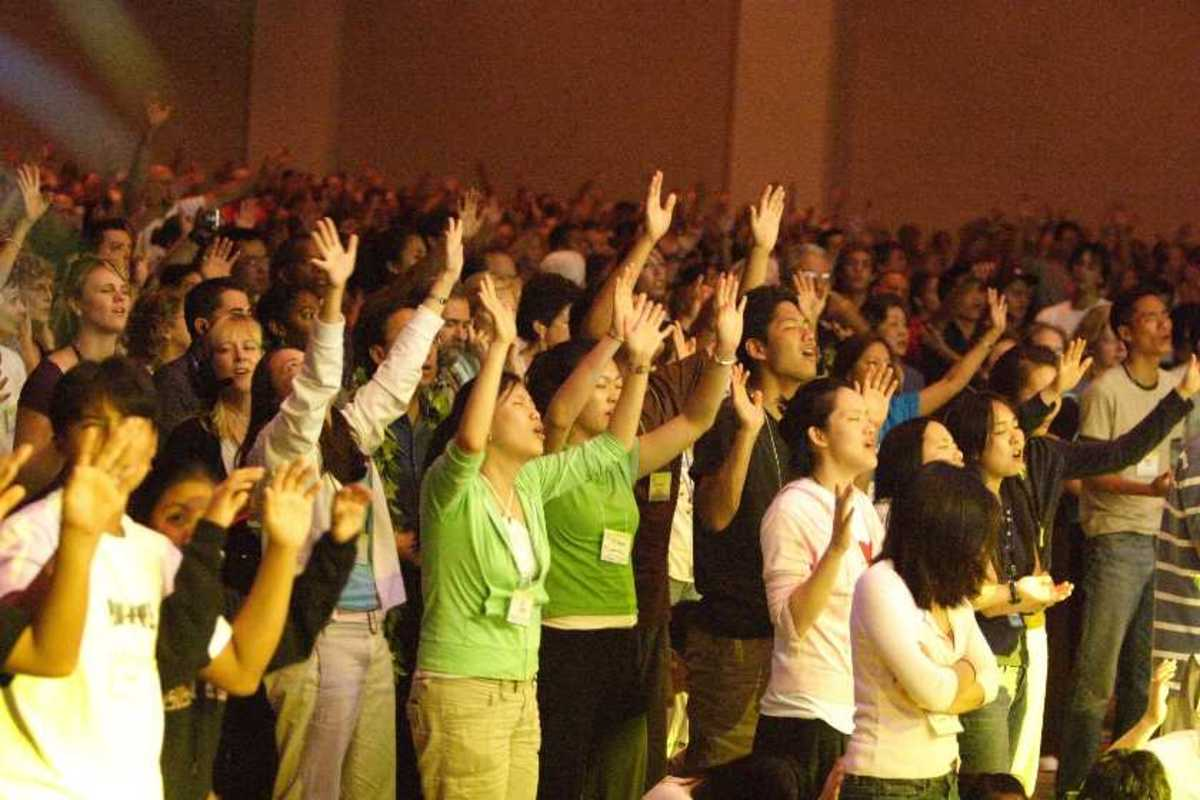 People lifting hands in worship
