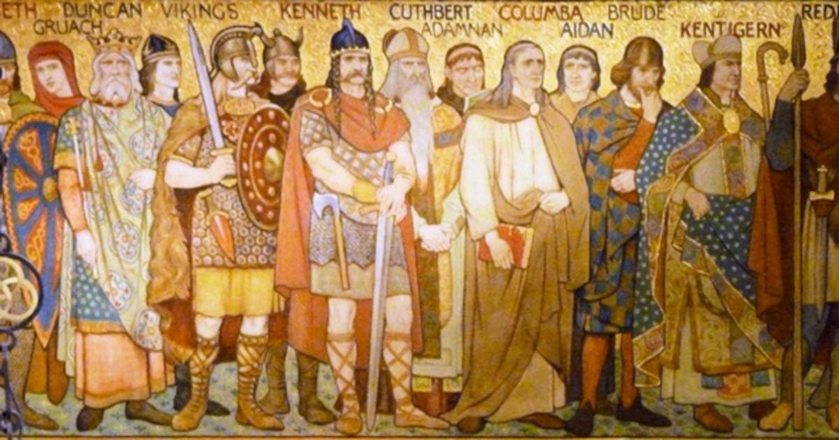 Kenneth Mac Alpin and a host of Scots and other worthies gather to give thanks for the end of hostilities with the Picts