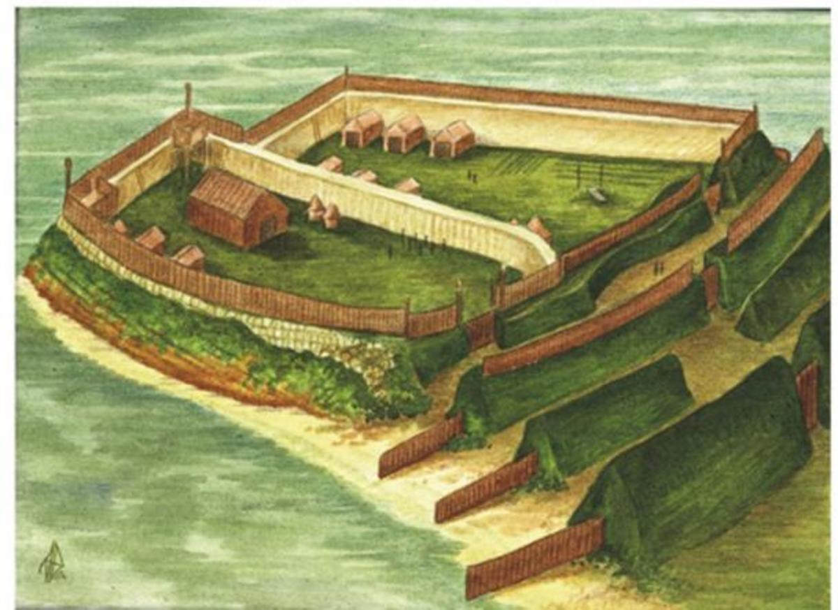 Pictish fort at Burghead on the coast west of Lossiemouth, Morayshire