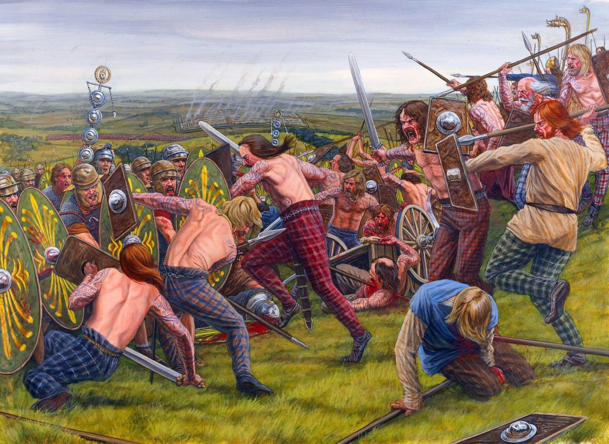 Agricola's Batavian infantry storms the last of the Caledonians' strongholds