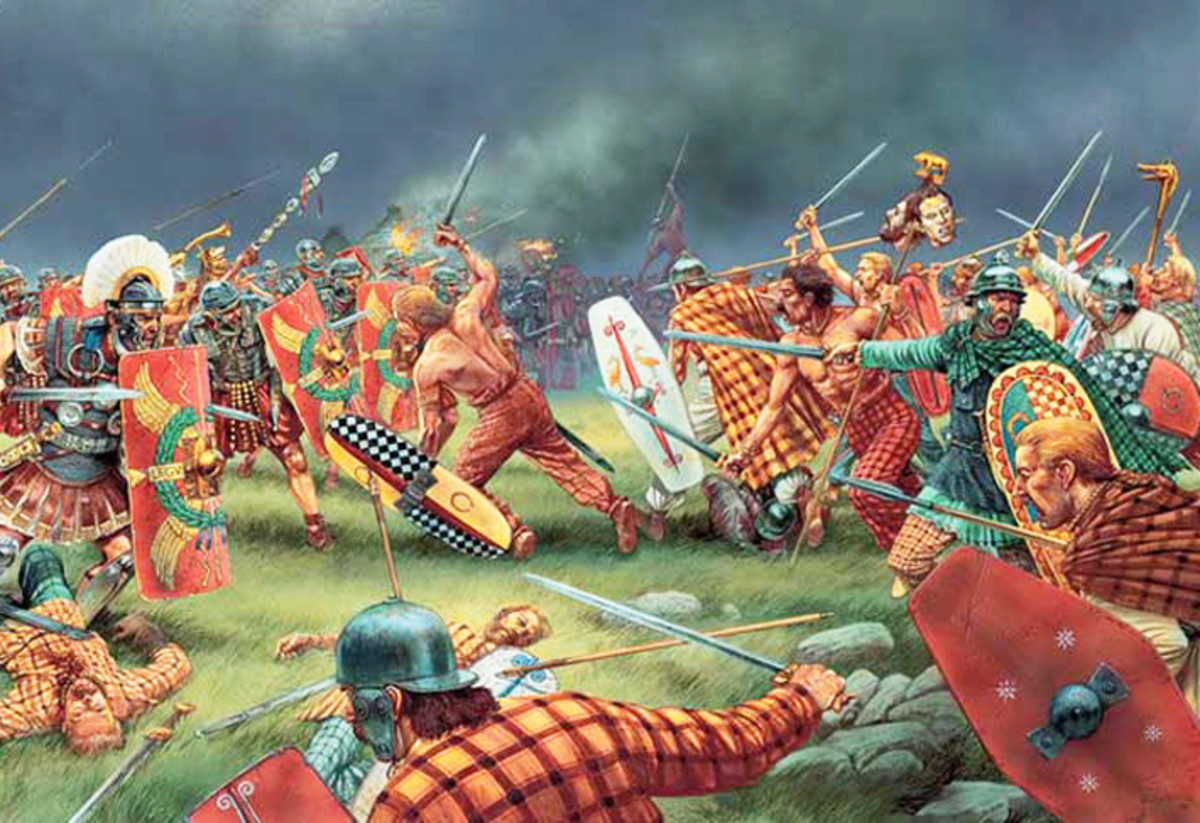 Pictish warriors take on the Romans - although the Romans were unwilling to admit to defeat, the Picts had become a real thorn in their side, so much so, it took them until AD 297 to record the presence of this 'painted warriors', the Picti