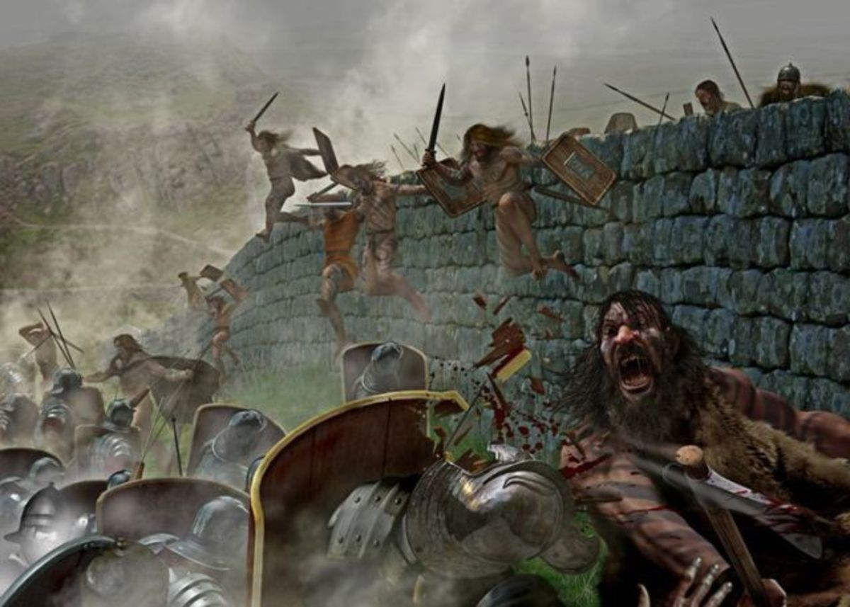 Picts attack one of the garrisons on Hadrian's Wall - the wall was as much in use to keep Britons in - to pay taxes no doubt - as to keep out hostile Celts