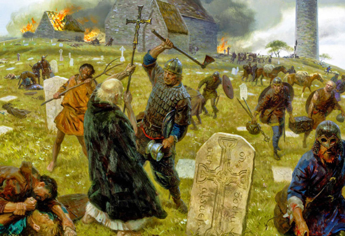 Norse attack on Iona - the monastery was abandoned when raids became too frequent for the monks to bear - to the Norsemen, anyone who refused to fight for the treasures in his care was weak and unfit to be seen as a man