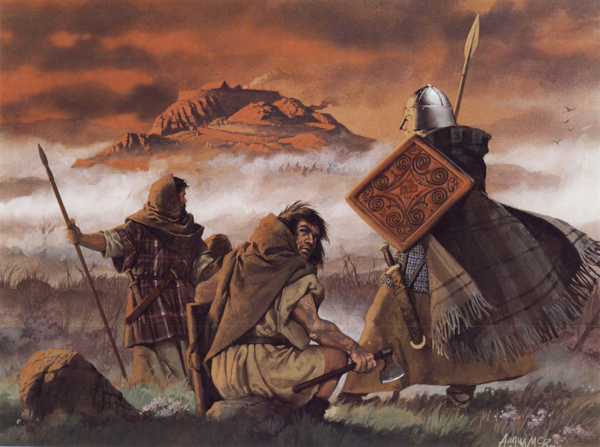 Angus McBride painting of the Picts observing the Scots ready for battle at Dunadd