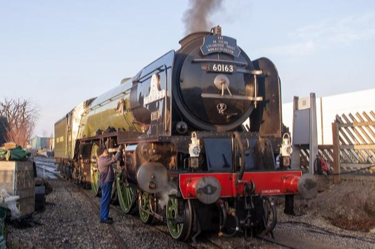 'Tornado' rests at Leeming Bar on the Wensleydale Railway, west of Northallerton in North Yorkshire