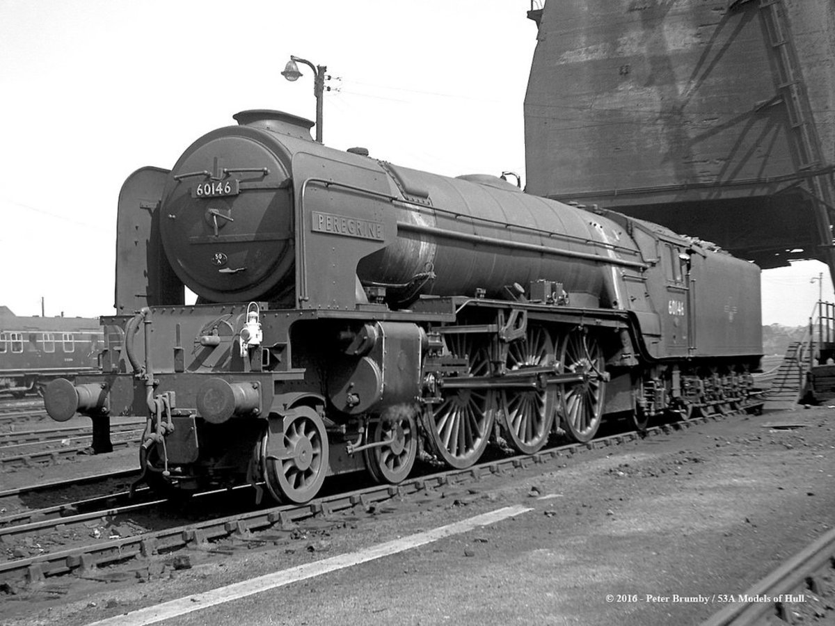 60146 'Peregrine' (one of several named after game birds) of York departs the coaling tower known effectionately as 'the Cenotaph' after its likeness to the Lutyens war memorial in Whitehall