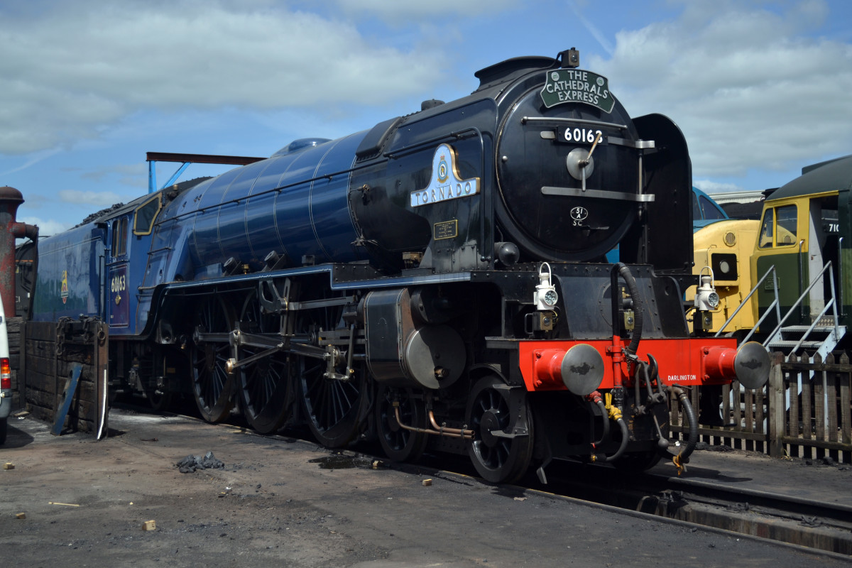 """Resplendent in early British Railways' experimental blue livery, 60163 """"Tornado"""" gleams in the sunlight"""