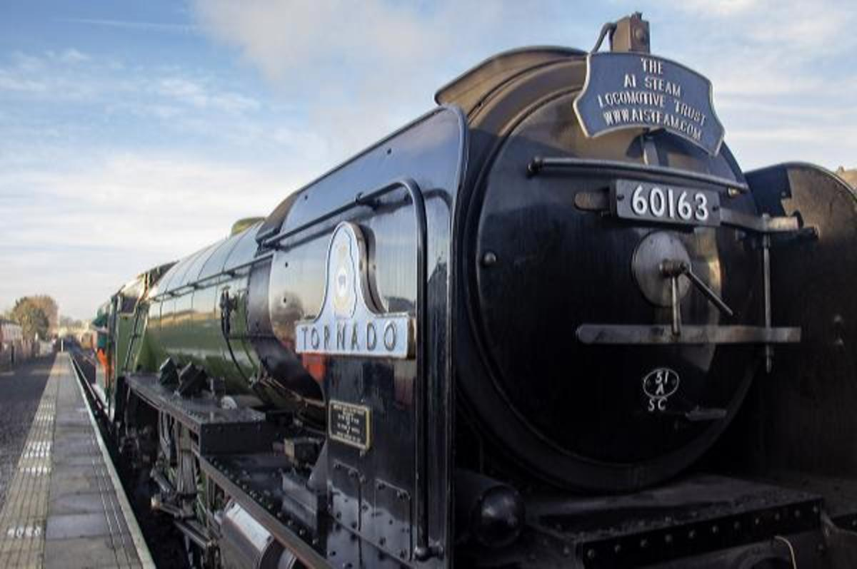 'Tornado' simmers at Leeming Bar's platform after returning from Redmire. She'll be back on the Wensleydale line for three weeks in May, 2019