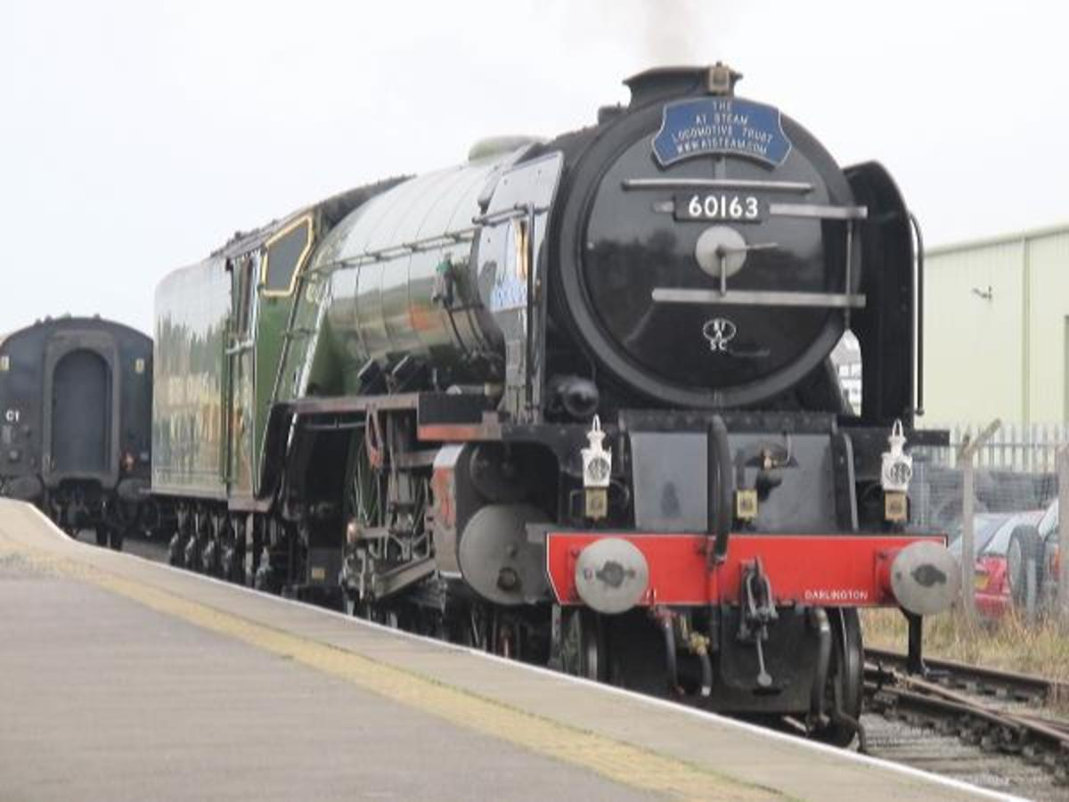 Tornado' rests at Leeming Bar after detaching from passenger stock before returning with a Wensleydale Railway train via Bedale to Leyburn and Redmire