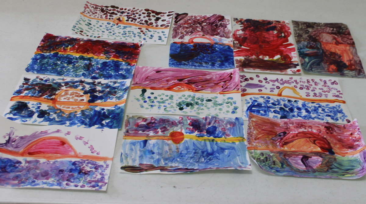 """Early elementary dab painting inspired by Claude Monet's """"Impression - Sunrise"""""""