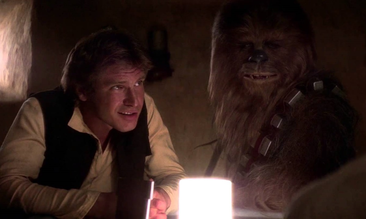 Han and Chewie in the cantina