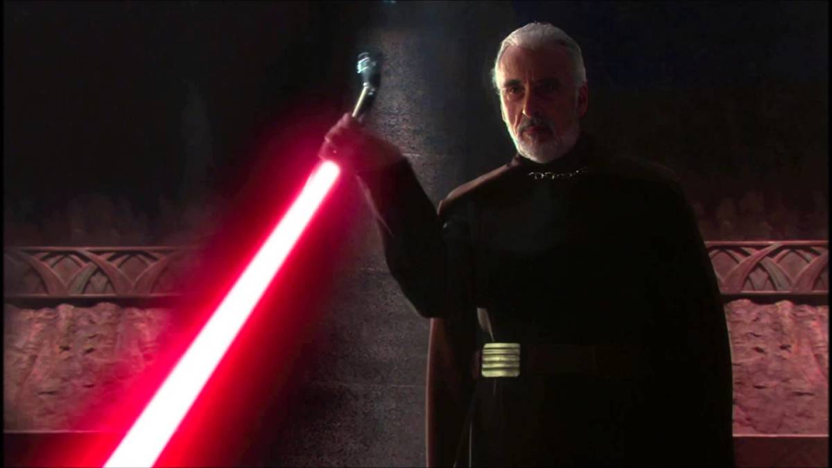 Count Dooku with his curved lightsaber