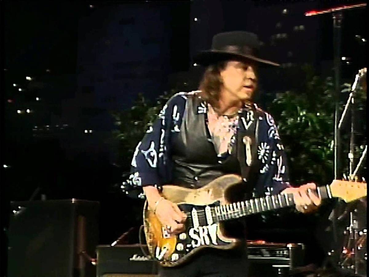 Stevie Ray Vaughan doing guitar solo