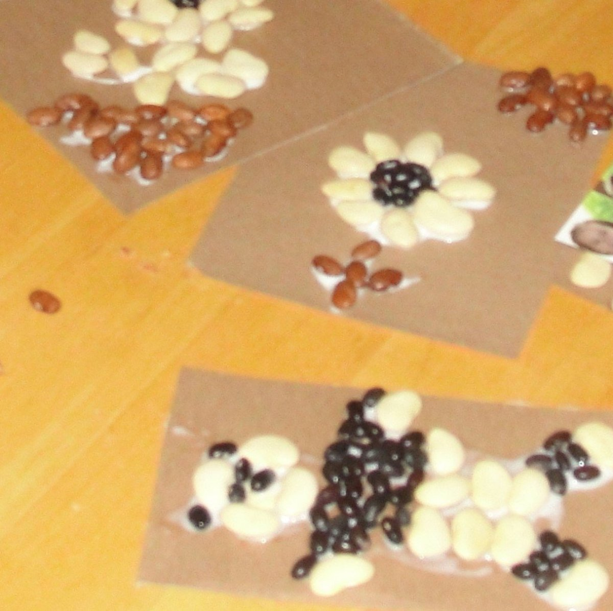 Making seed mosaics was one of the activities we did this week while learning about seed plants from the above link:  Science Morning Basket & Activities: Seed Plants.
