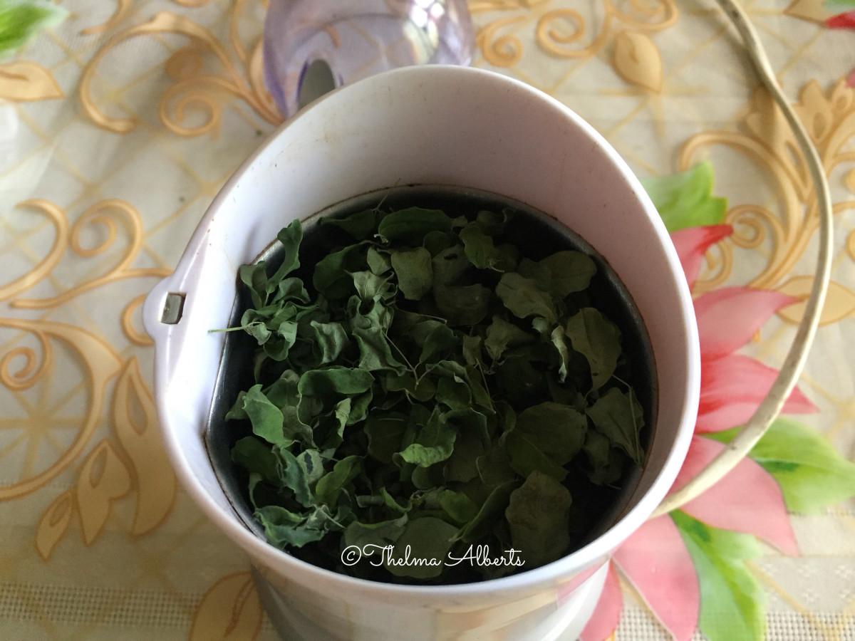 Moringa Oleifera before grinding with nuts grinder.