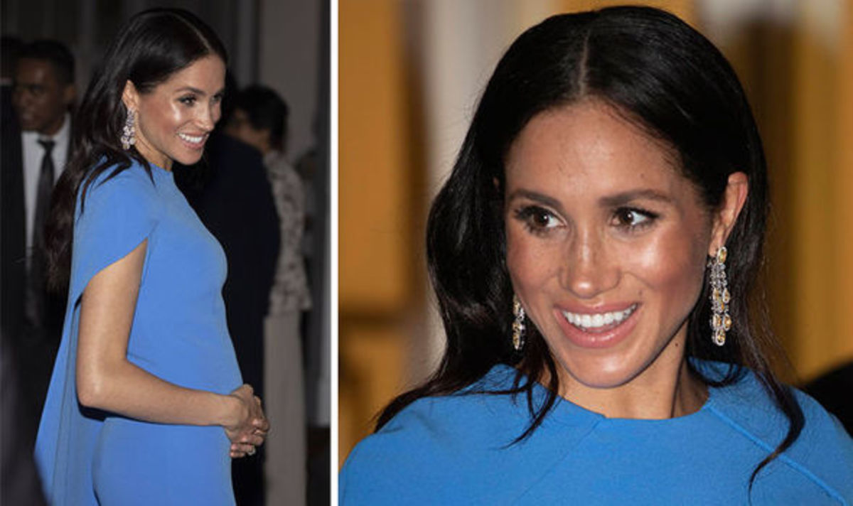 Meghan Markle wore a bl dress for a  state-dinner in Fiji