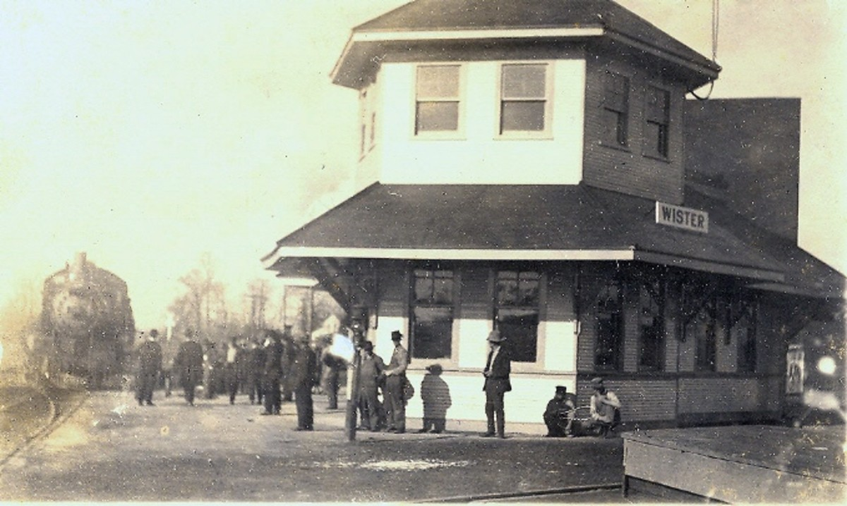 Wister Railroad Depot around 1910, just south of Poteau, Oklahoma
