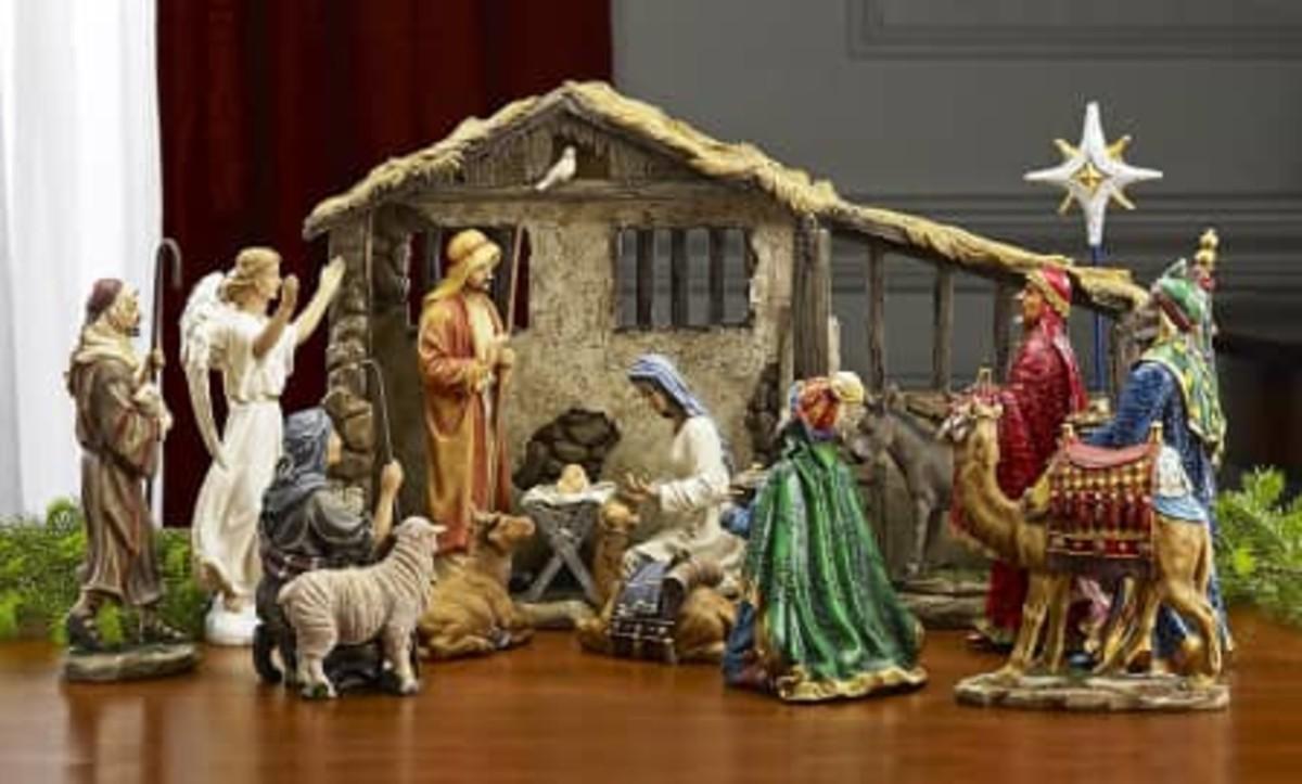 Nativity Scene with Baby Jesus in the Manger