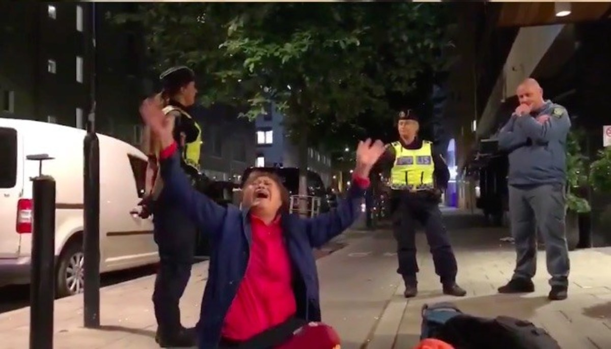 A hysterical tourist in Sweden.
