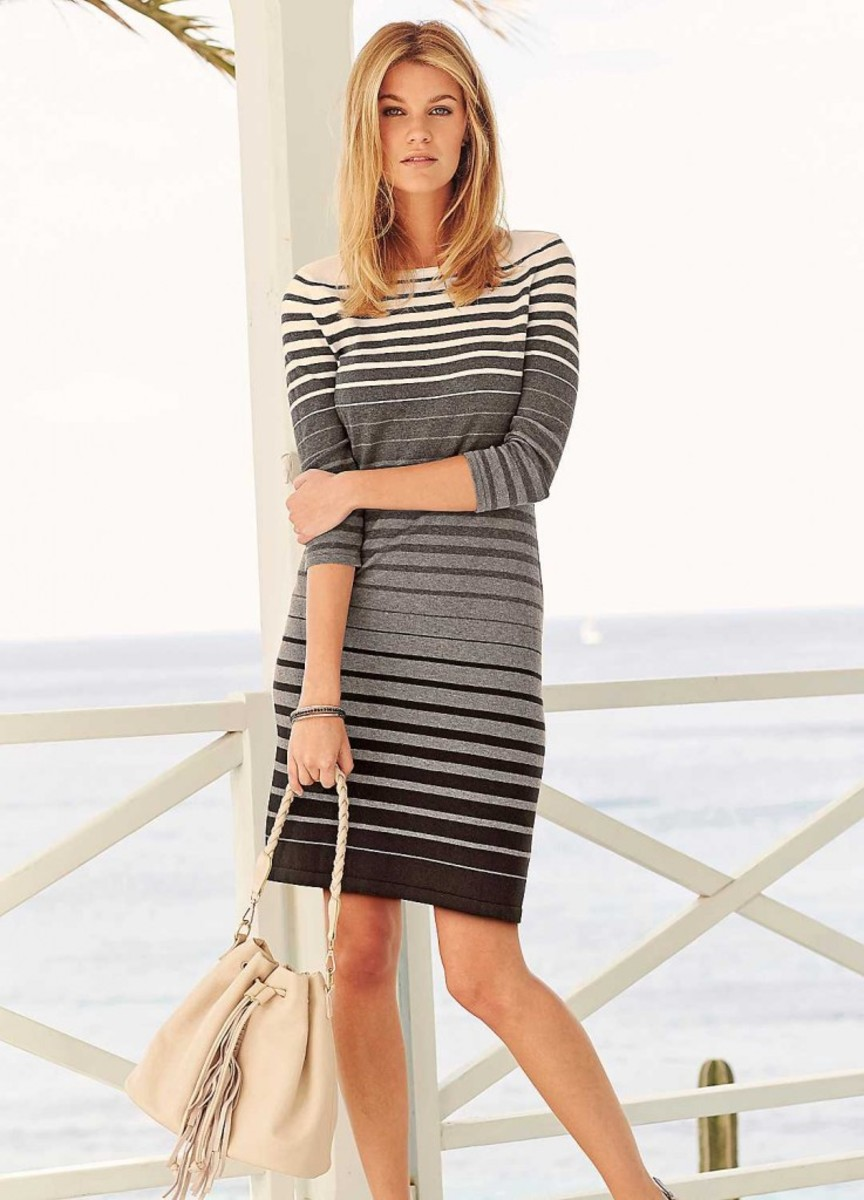 "Dresses that are above the knee and with subtle colors give off that mature look without being ""old""."