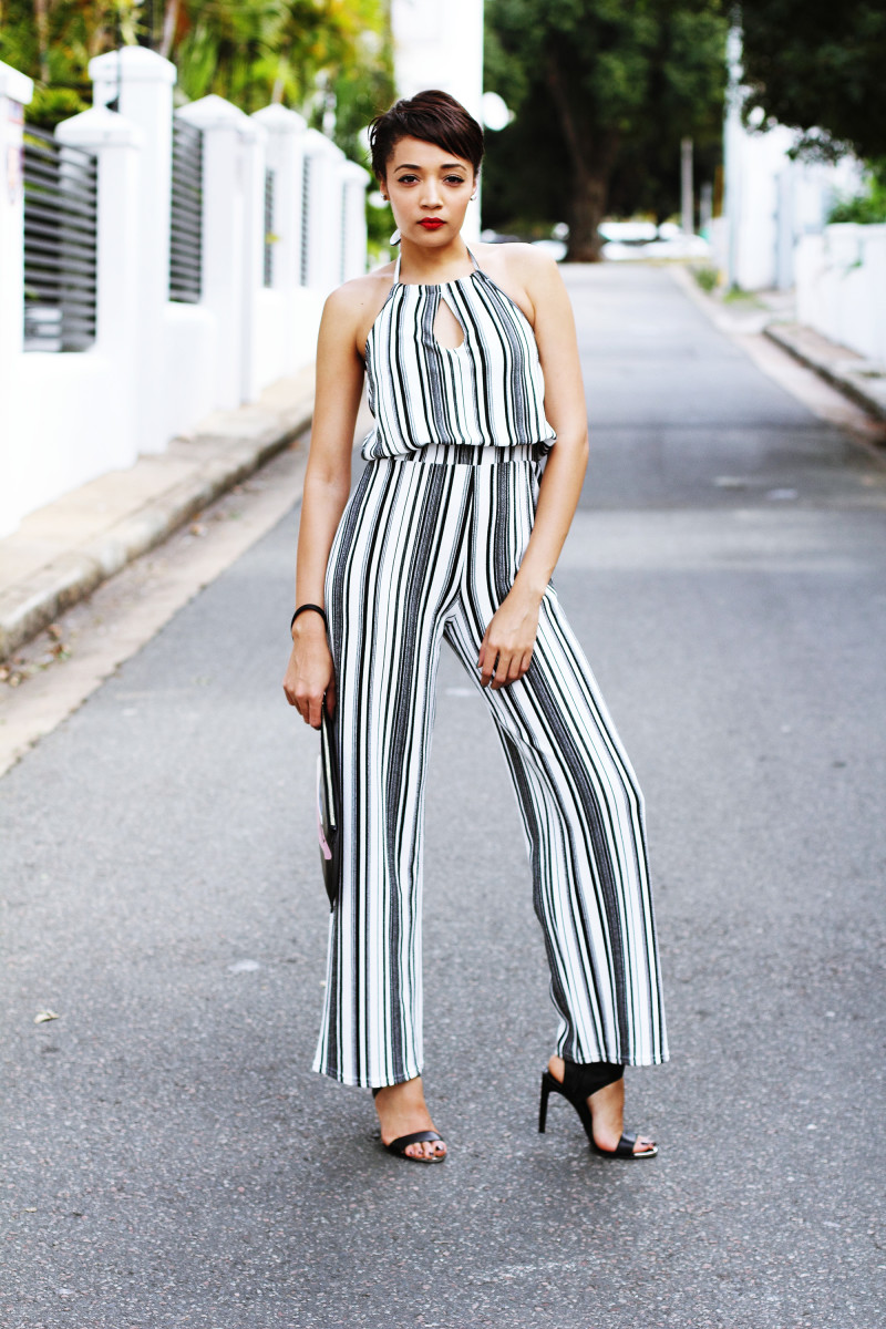 Jumpsuit with vertical lines and high waist...