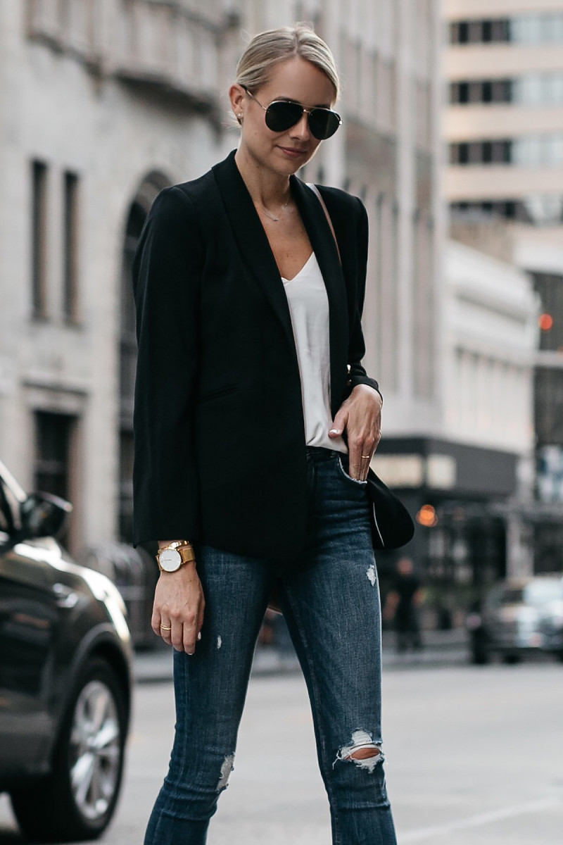 A blazer, plunging neckline and a tucked-in top all give you that much-desired length in your frame...