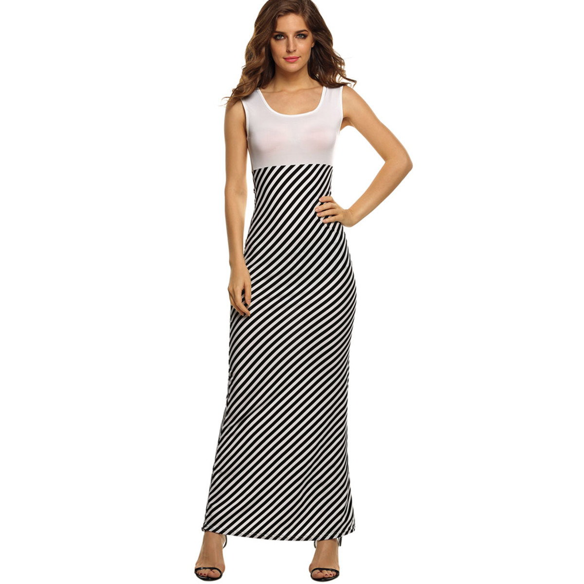 Form-fitting maxi dress with vertical lines...look at how the leg line looks so long...
