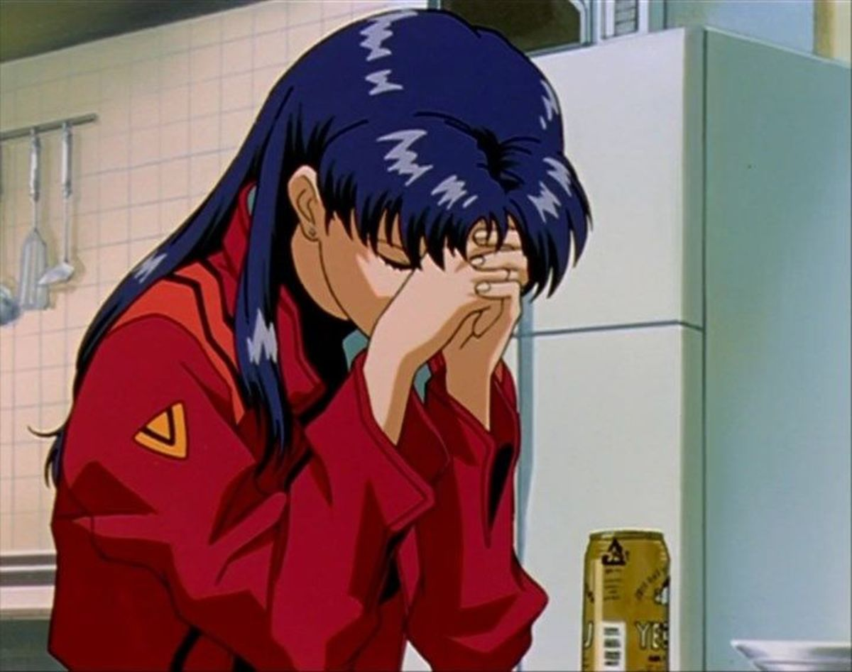 The drunken and depressed Misato.