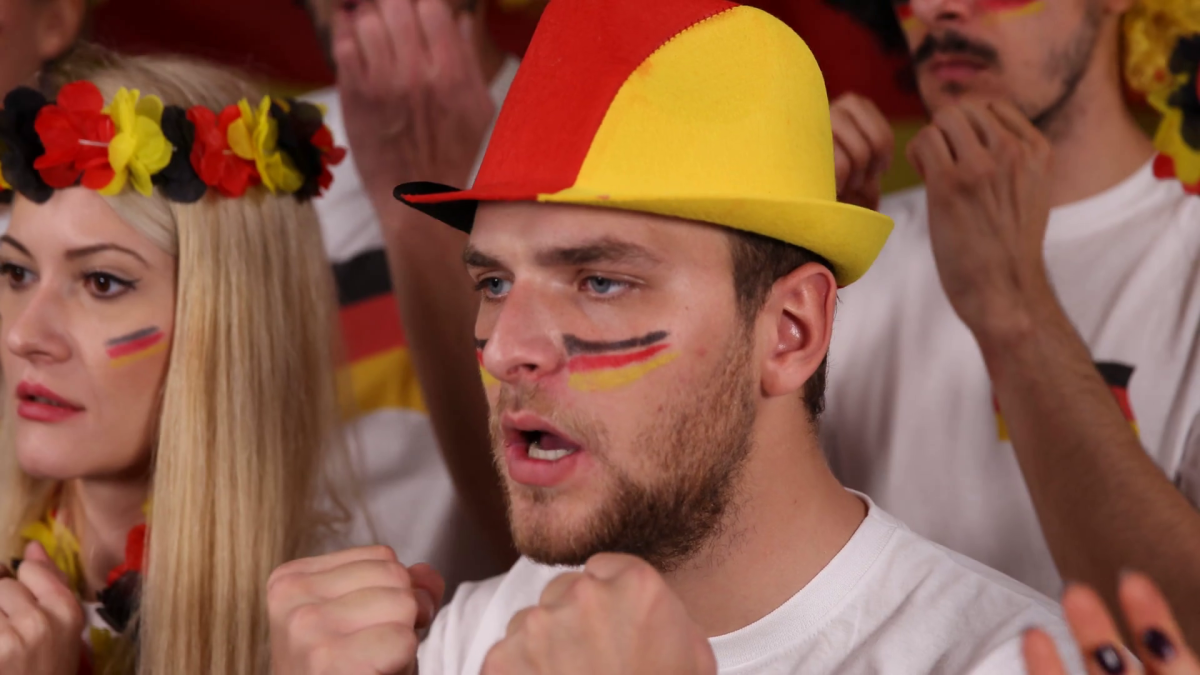 German football fans, lots of cursing among this group