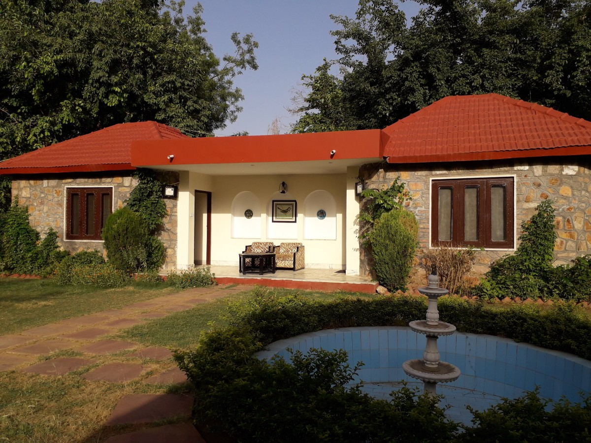 A view of our cottage at the Sterling Resort, where we stayed at Sariska