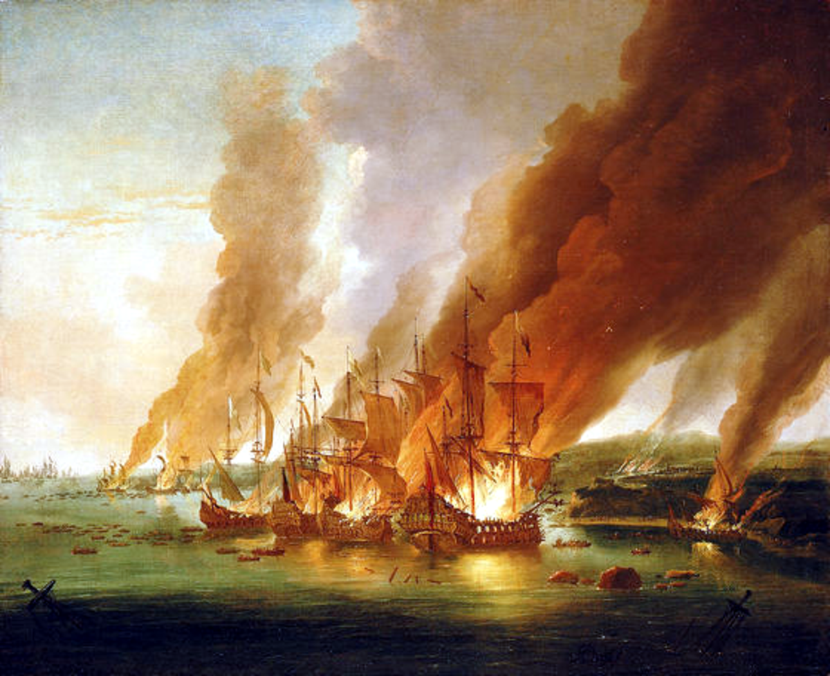 Battle of La Hogue, (1692) by Adriaen van Diest. The last act of the battle – French ships set on fire at La Hogue.