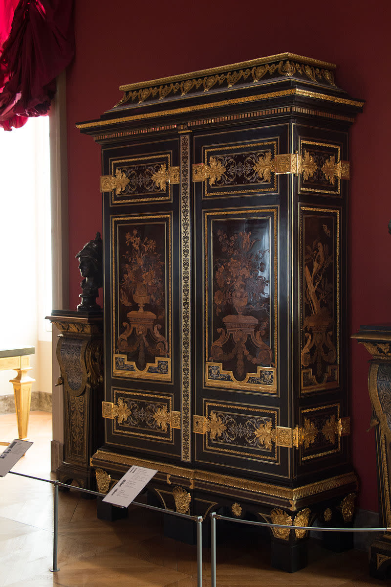 Armoire with marquetry in parakeet pattern by André Charles Boulle