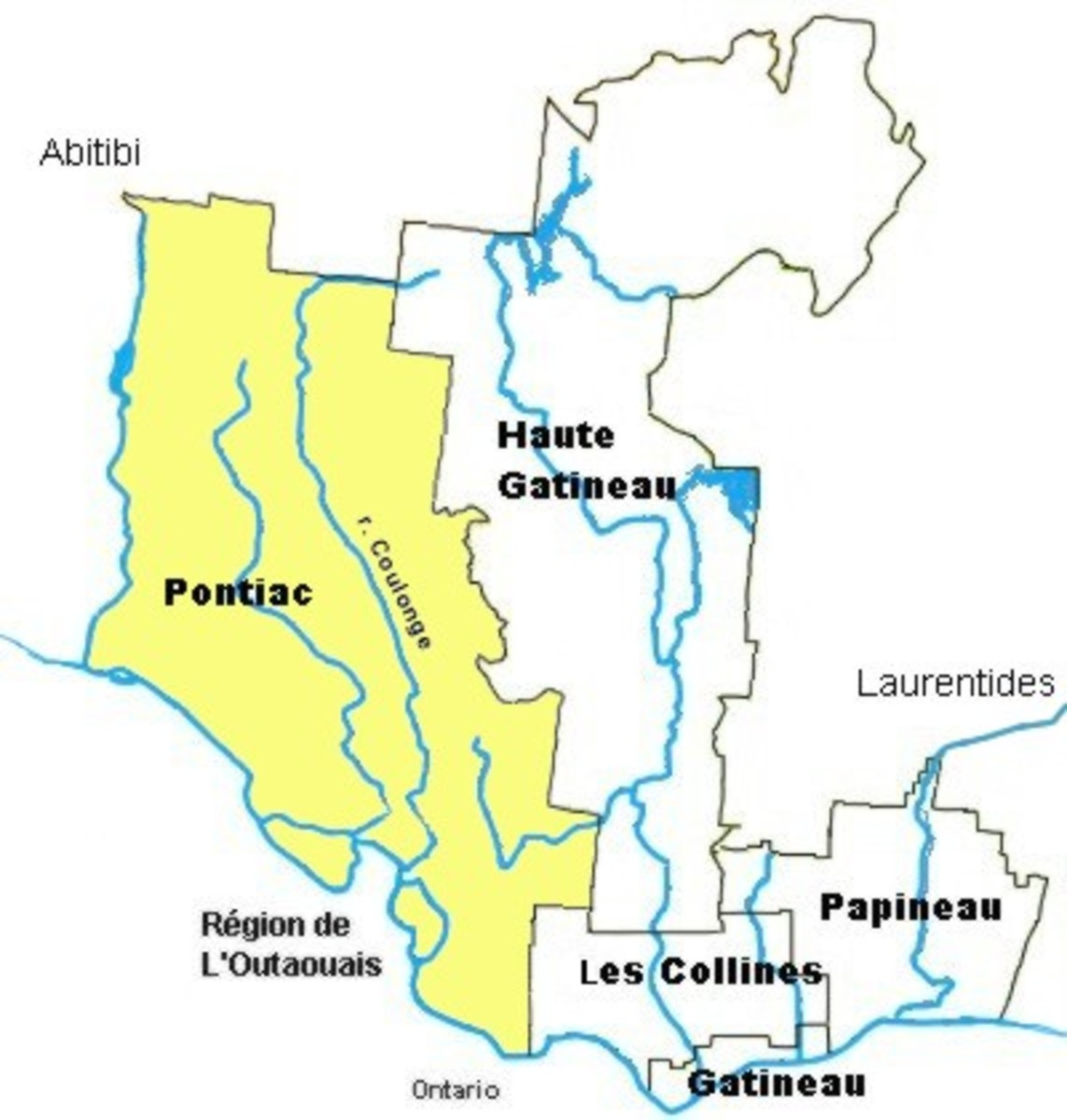 Map location of Municipalité régionale de comté de Pontiac / Pontiac Regional County Municipality
