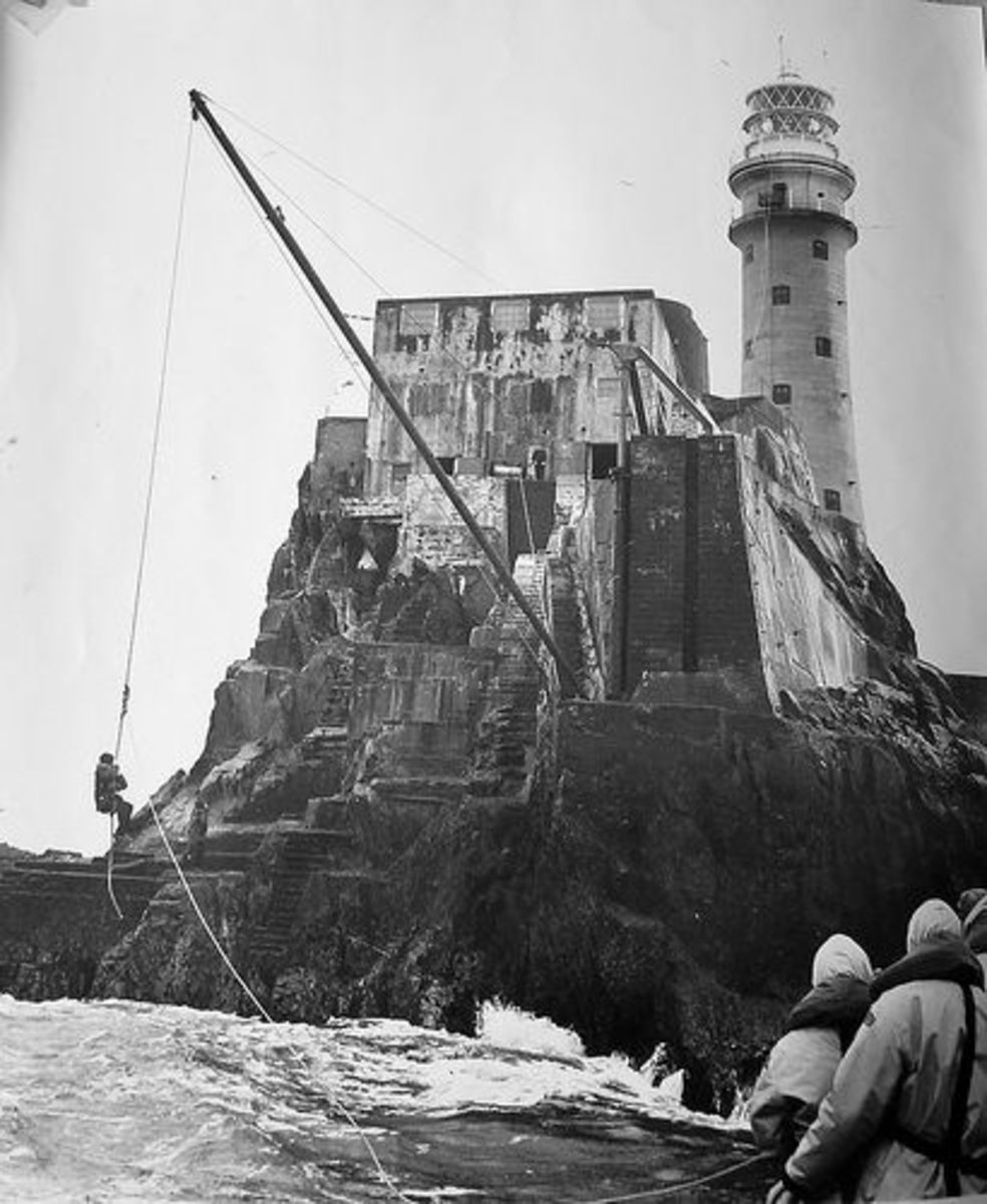 Transferring lighthouse keepers in days gone by.