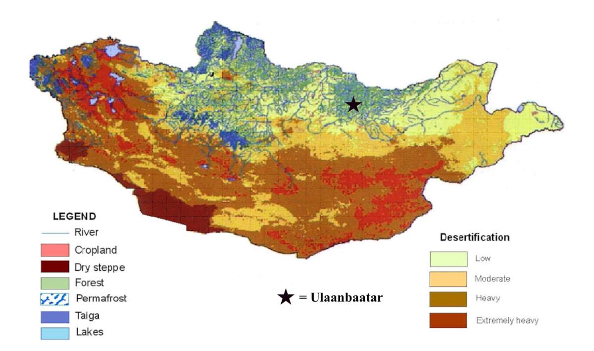 Figure 1: Map showing levels of desertification across Mongolia