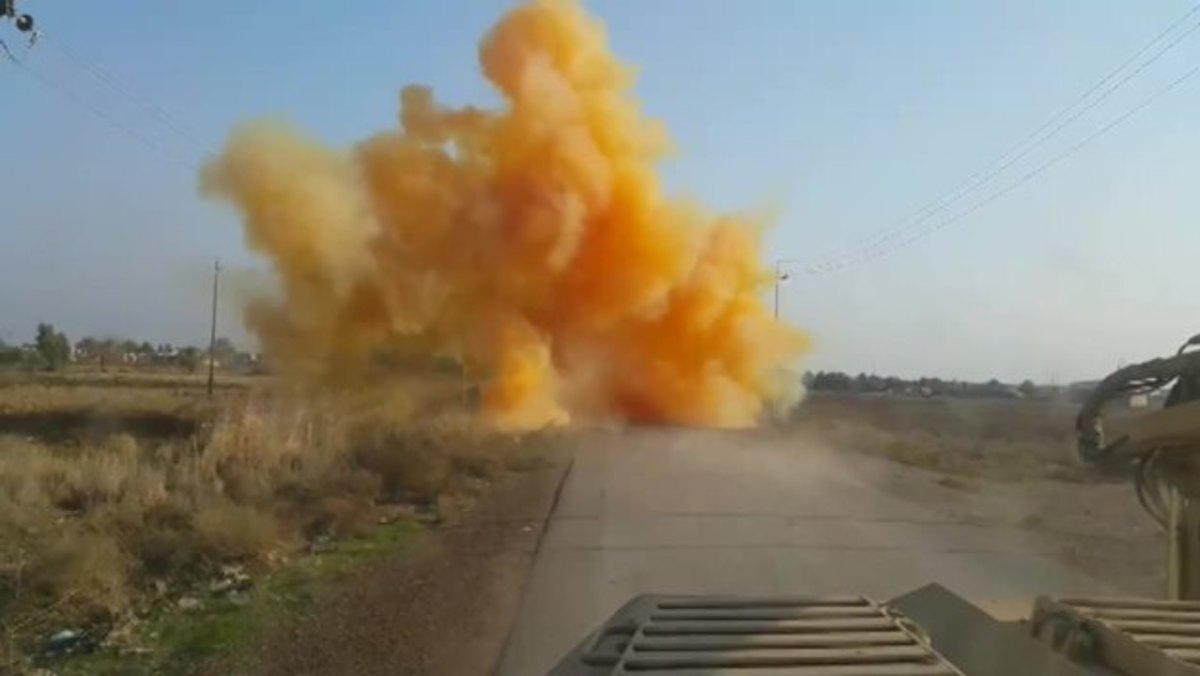 A chemical weapon exploding.