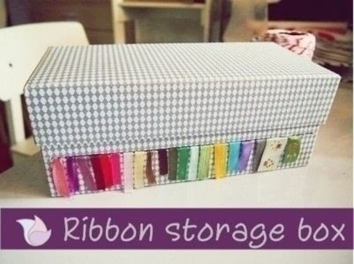 There are more than one way to create ribbon storage. Here is another option for creating a ribbon storage box