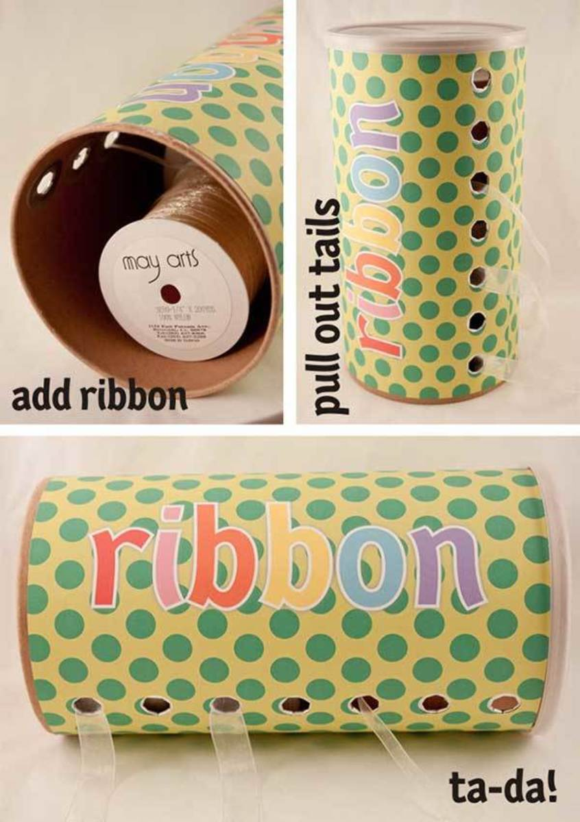 Recycle an oatmeal box into a very cute ribbon storage idea