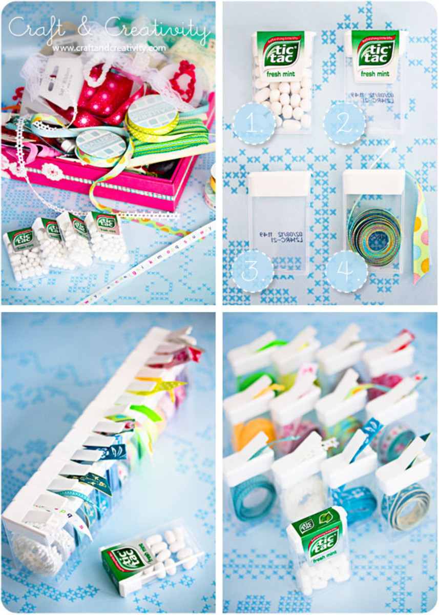 Recycle tic tac containers for your ribbon scraps